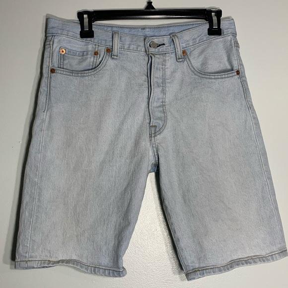 Levi's 501 Light Wash Button Fly Bermuda Shorts